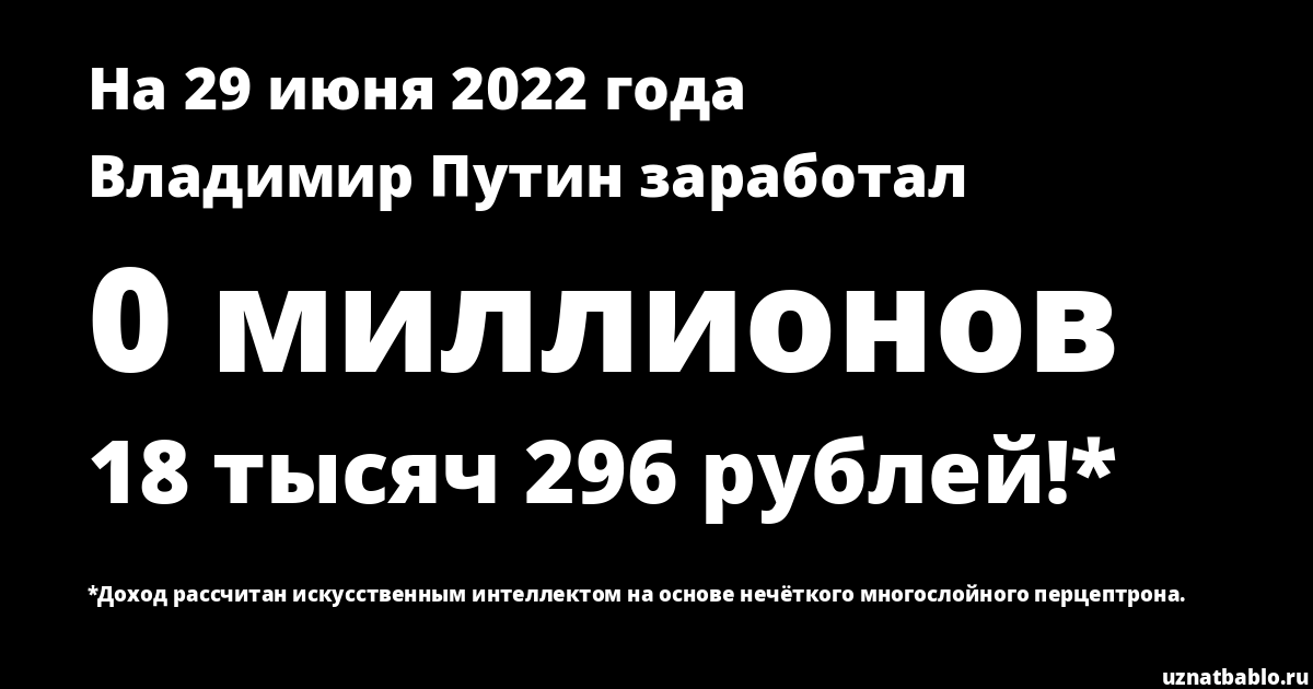 Сколько заработал Владимир Путин на Youtube на 22 октября 2019 года