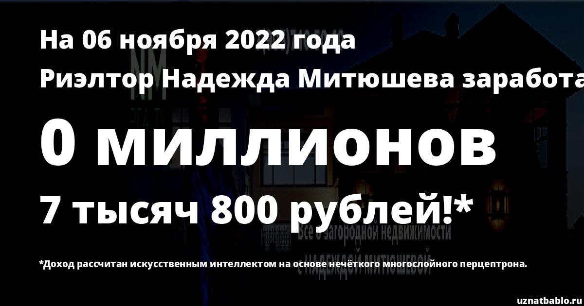 Сколько заработал Риэлтор Надежда Митюшева на Youtube на 6 декабря 2019 года