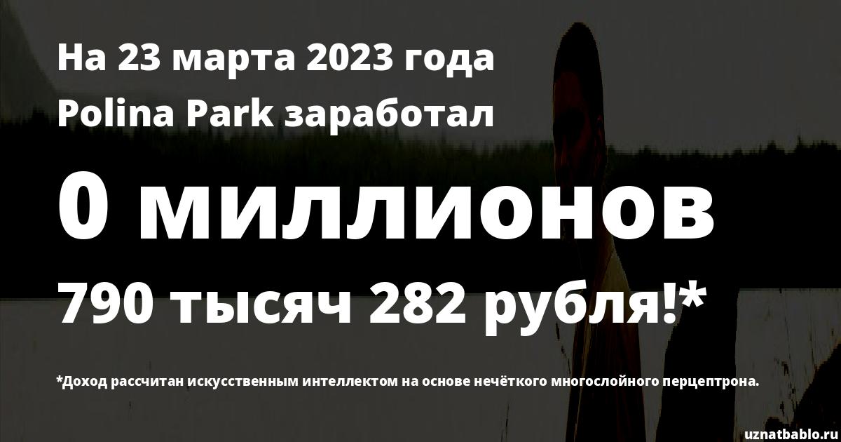 Сколько заработал Polina Park на Youtube на 19 мая 2019 года