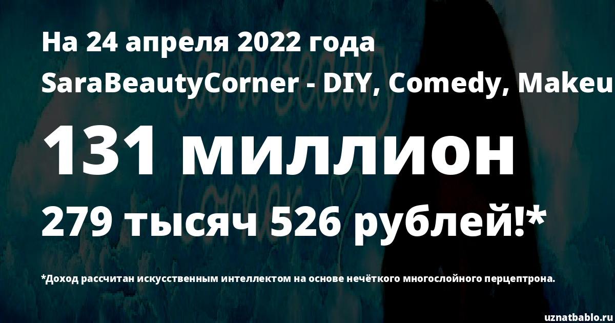 Сколько заработал SaraBeautyCorner - DIY, Comedy, Makeup, Nail Art на Youtube на 24 марта 2019 года
