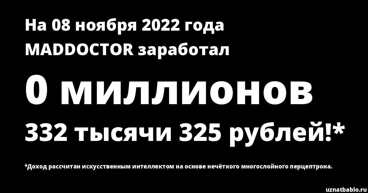 Сколько заработал MADDOCTOR на Youtube на 24 января 2020 года