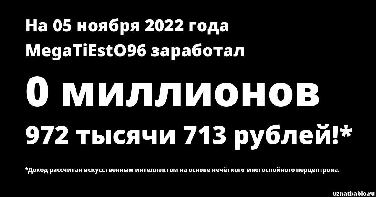 Сколько заработал MegaTiEstO 96 на Youtube на 18 февраля 2019 года
