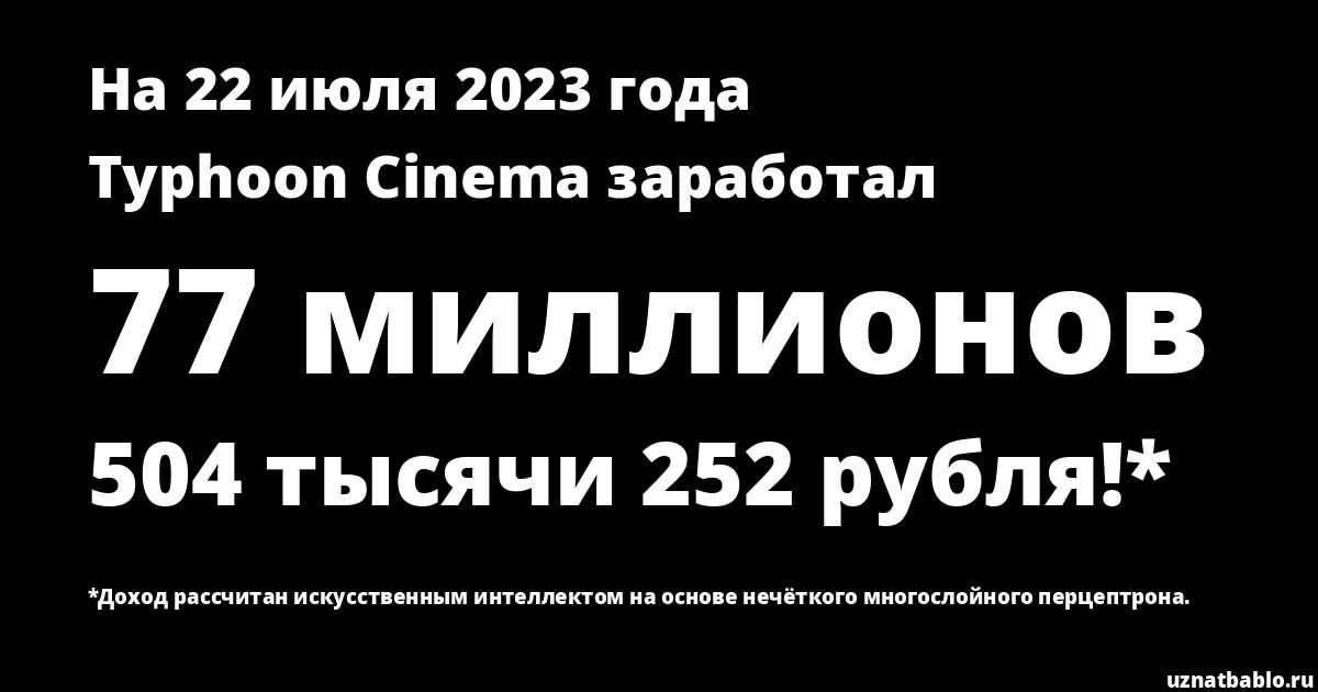 Сколько заработал Typhoon Cinema на Youtube на 29 января 2020 года