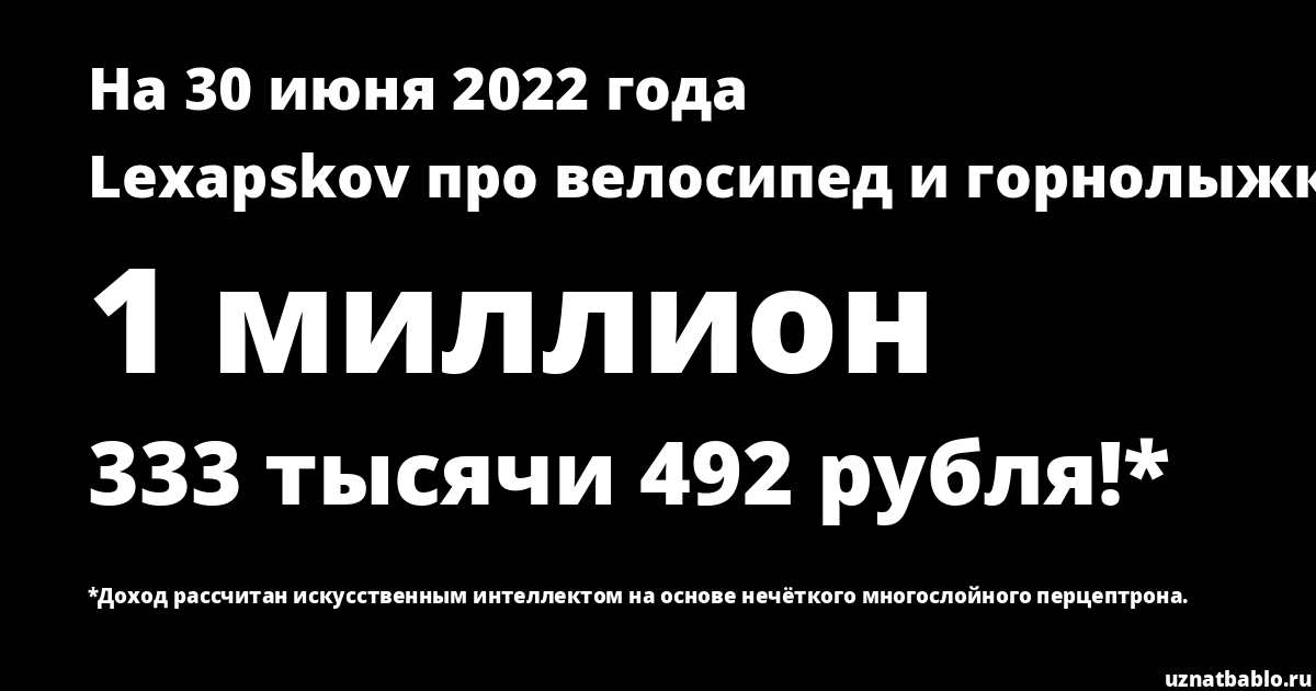 Сколько заработал Lexapskov сервис. велосипед, горнолыжка на Youtube на 18 февраля 2020 года