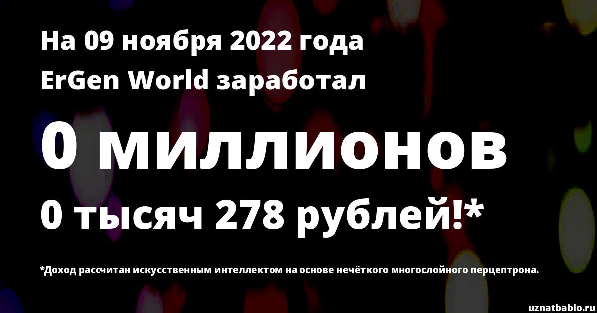 Сколько заработал ErGen World на Youtube на 19 октября 2019 года
