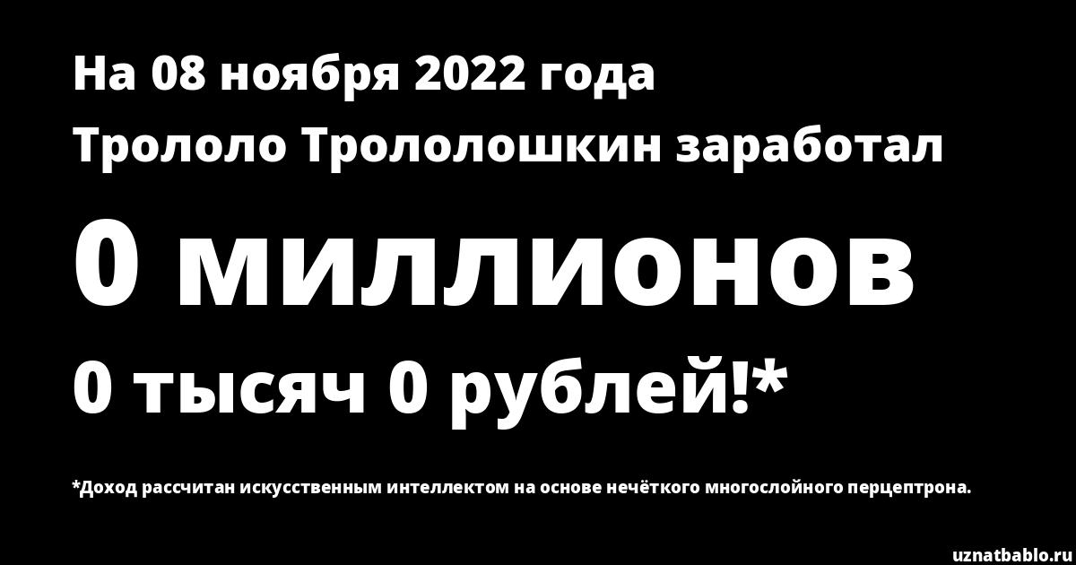 Сколько заработал Трололо Трололошкин на Youtube на 22 января 2020 года