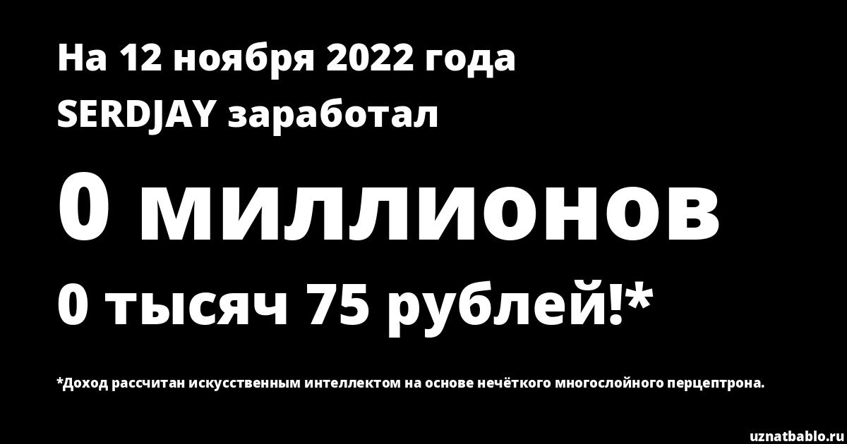 Сколько заработал SerdJay minin092 Минин на Youtube на 24 января 2020 года