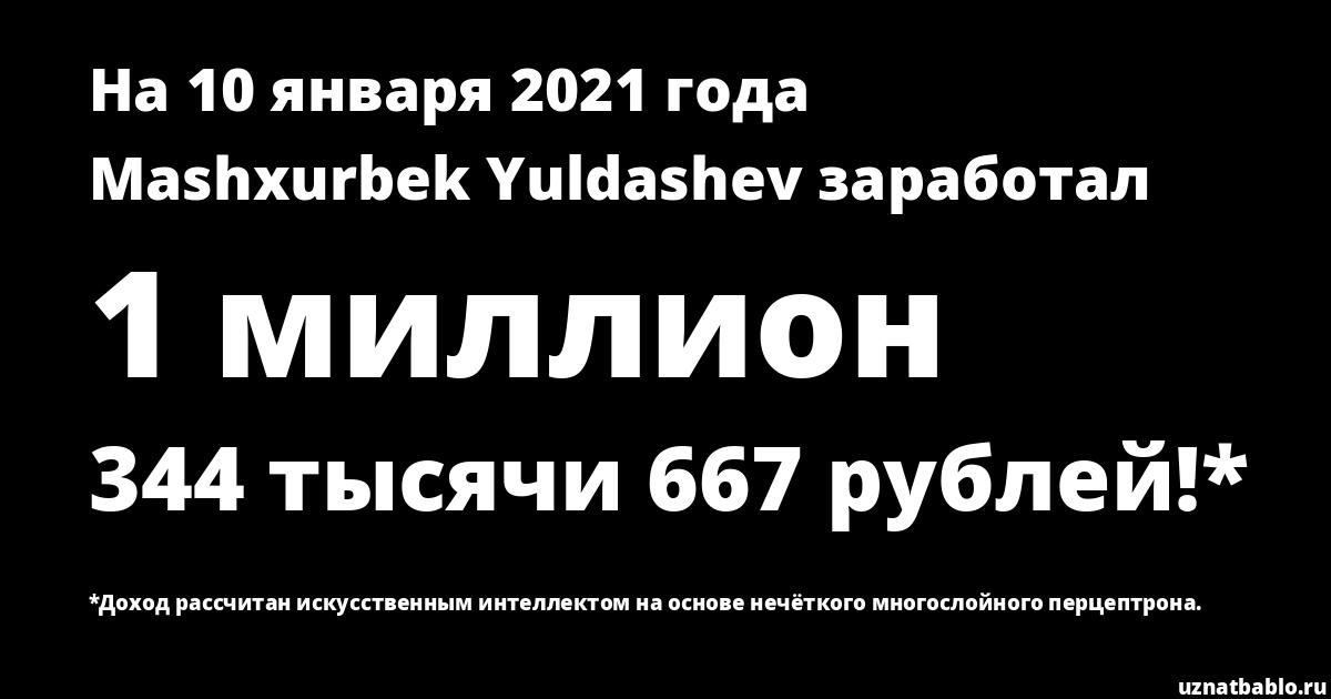 Сколько заработал Mashxurbek Yuldashev на Youtube на 25 января 2020 года