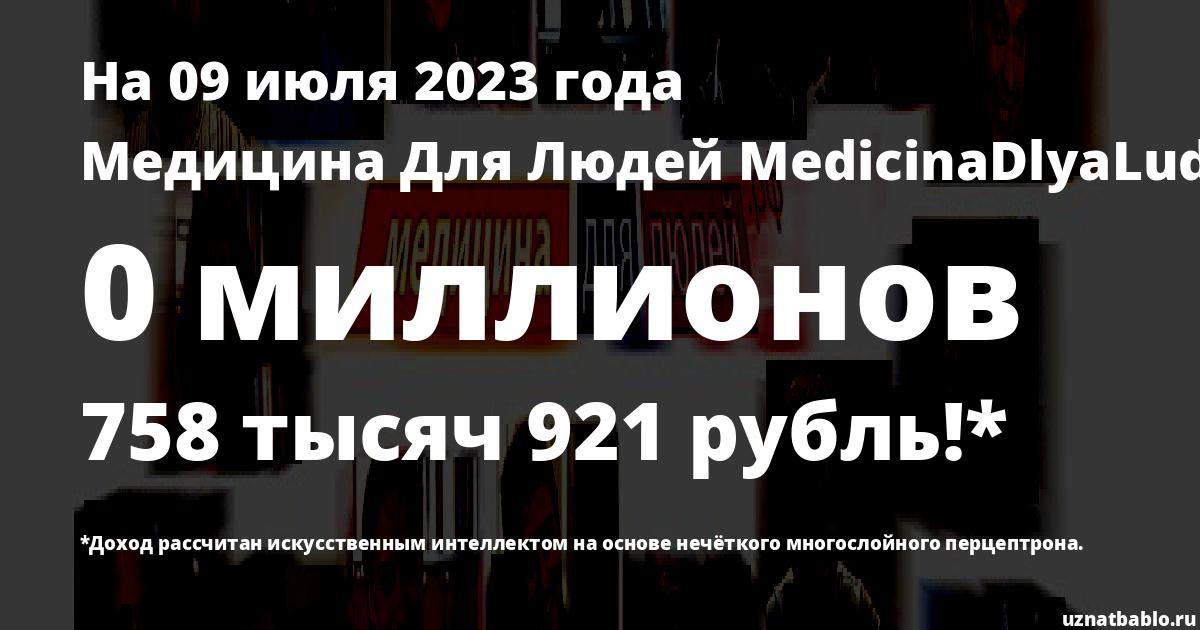 Сколько заработал Медицина Для Людей MedicinaDlyaLudey на Youtube на 10 апреля 2020 года