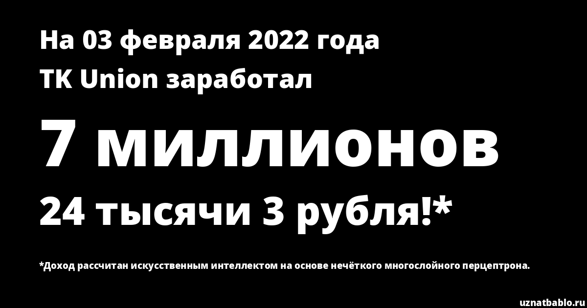 Сколько заработал TK Union на Youtube на 2 апреля 2020 года