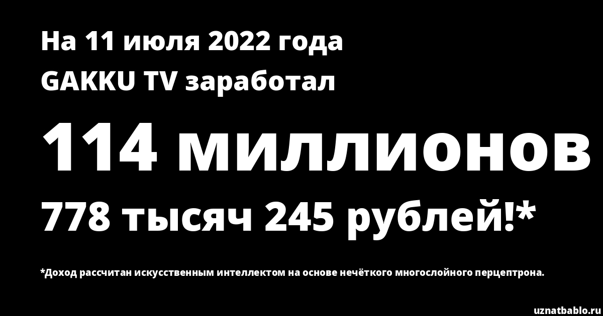 Сколько заработал GAKKU TV на Youtube на 22 сентября 2018 года