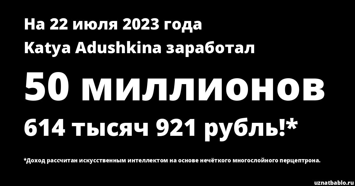 Сколько заработал Katya Adushkina на Youtube на 28 марта 2020 года