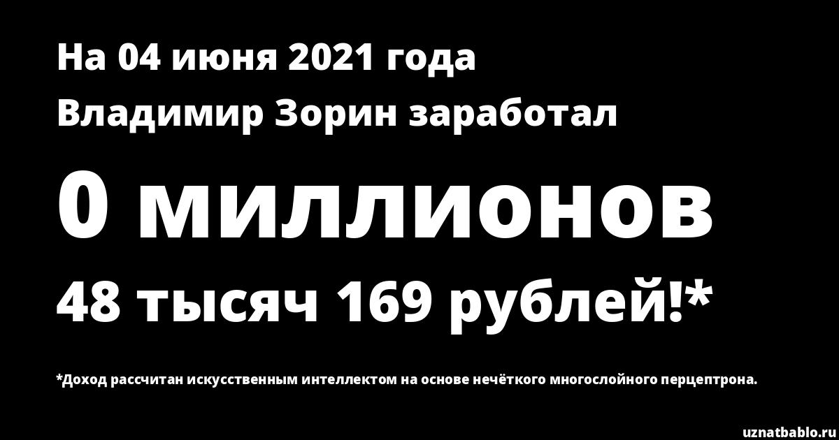 Сколько заработал Владимир Зорин на Youtube на 18 февраля 2019 года