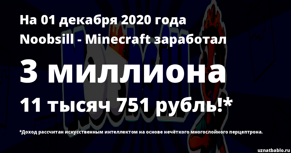 Сколько заработал Noobsill - Minecraft на Youtube на 18 октября 2019 года