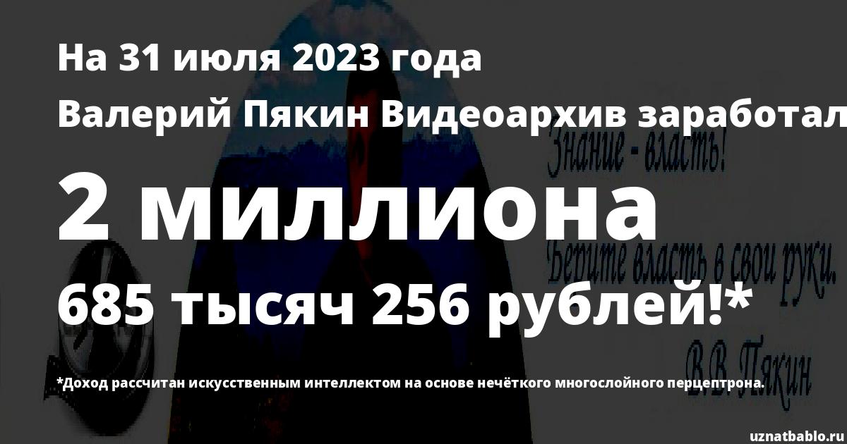 Сколько заработал Валерий Пякин Видеоархив на Youtube на 19 мая 2019 года