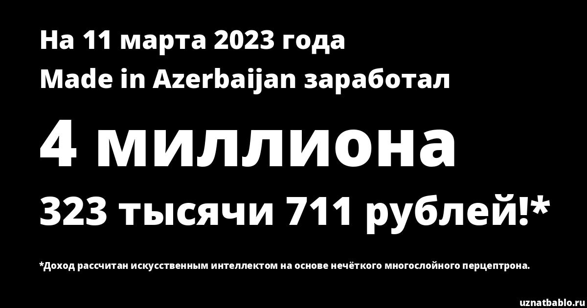 Сколько заработал Made in Azerbaijan на Youtube на 2 апреля 2020 года