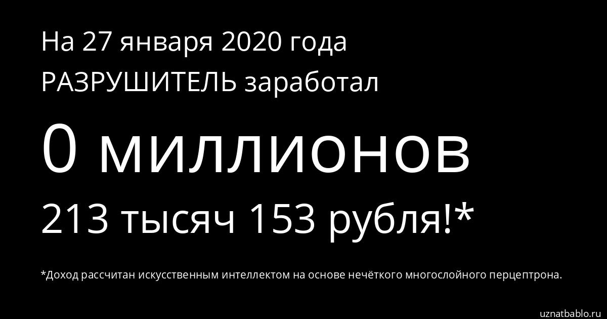 Сколько заработал РАЗРУШИТЕЛЬ на Youtube на 18 февраля 2020 года