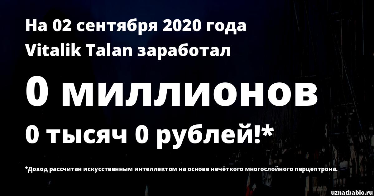 Сколько заработал Vitalik Talan на Youtube на 24 января 2019 года