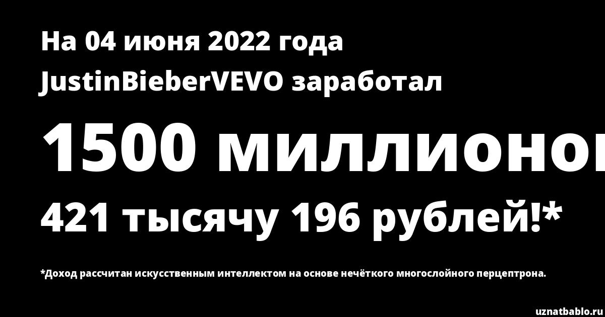 Сколько заработал JustinBieberVEVO на Youtube на 28 марта 2020 года