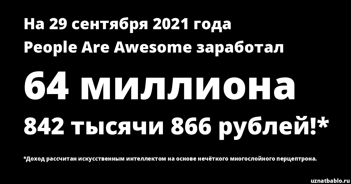 Сколько заработал People are Awesome на Youtube на 19 ноября 2018 года