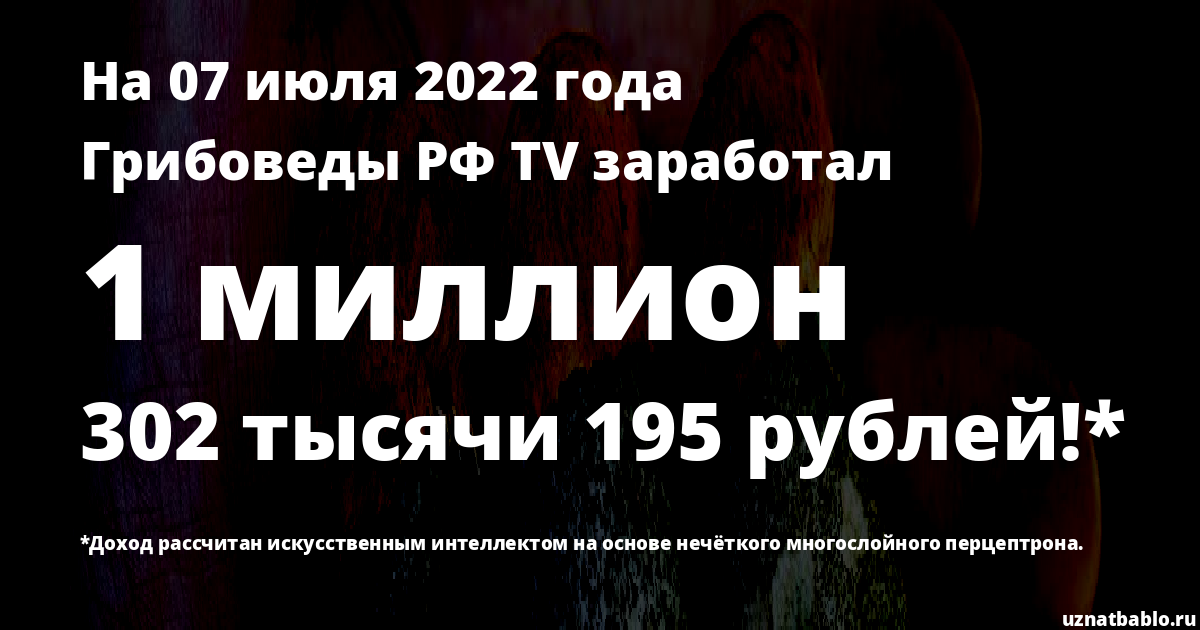 Сколько заработал Грибоведы РФ TV на Youtube на 19 октября 2019 года