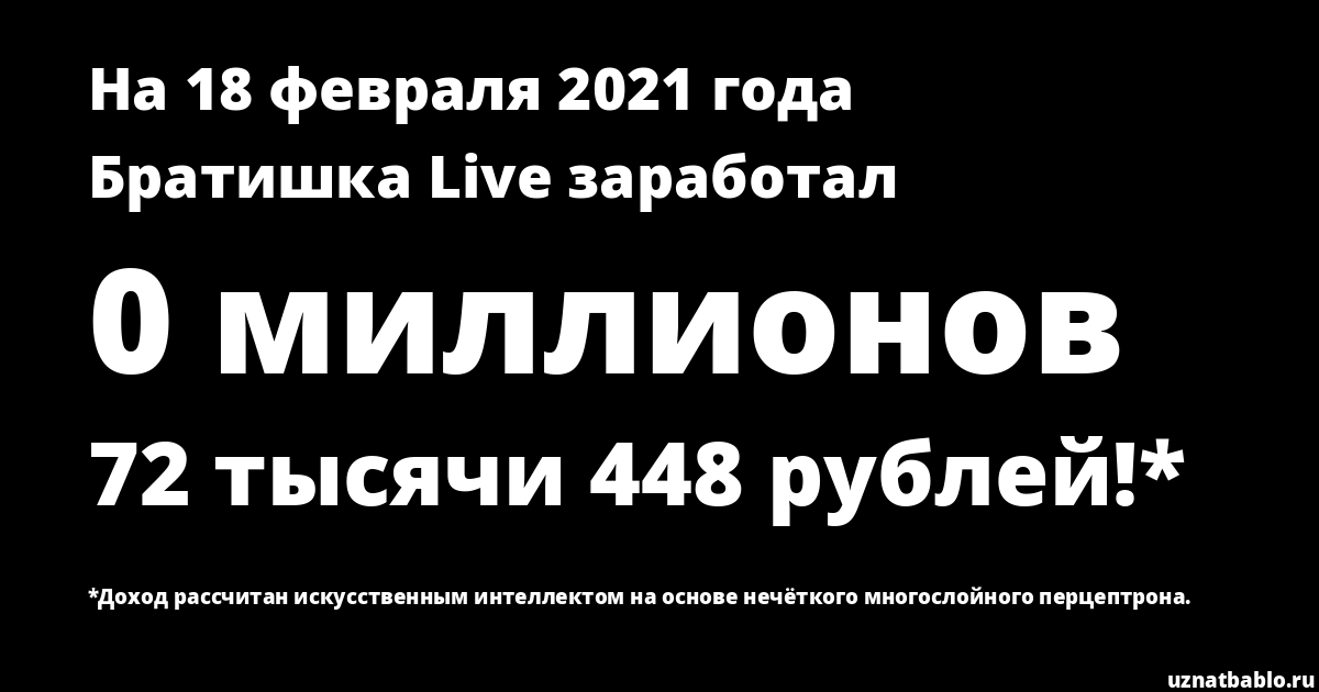Сколько заработал Братишка Live Спид Инфо на Youtube на 29 февраля 2020 года