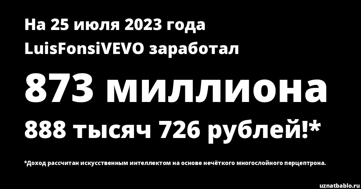 Сколько заработал LuisFonsiVEVO на Youtube на 16 июля 2019 года