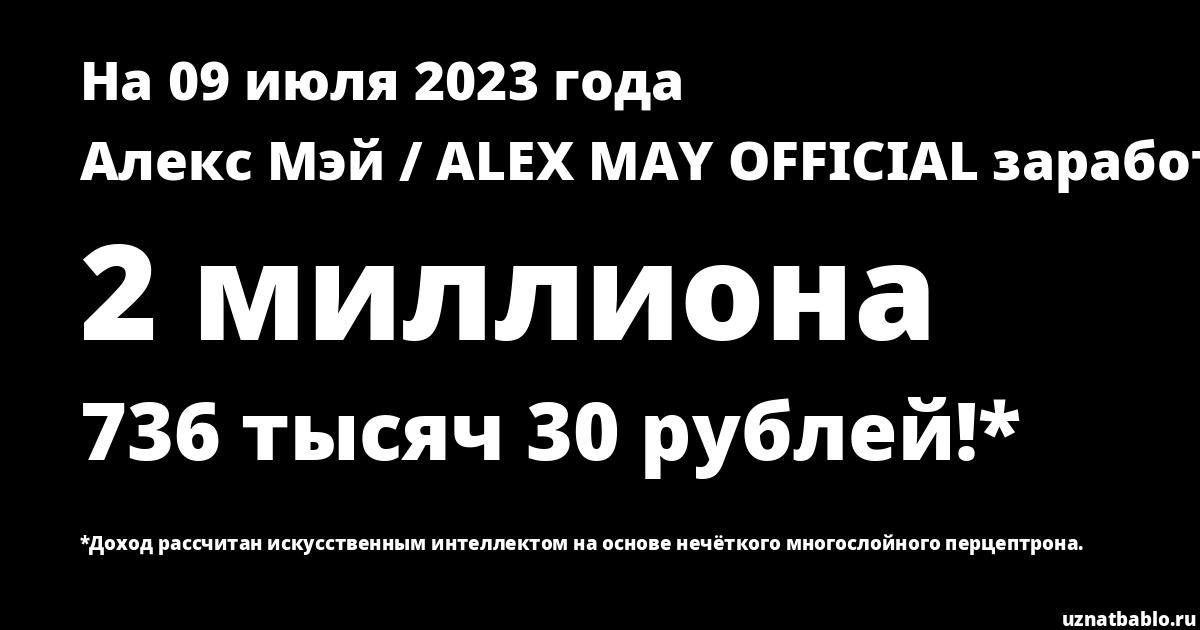 Сколько заработал Алекс Мэй / ALEX MAY OFFICIAL на Youtube на 22 сентября 2019 года