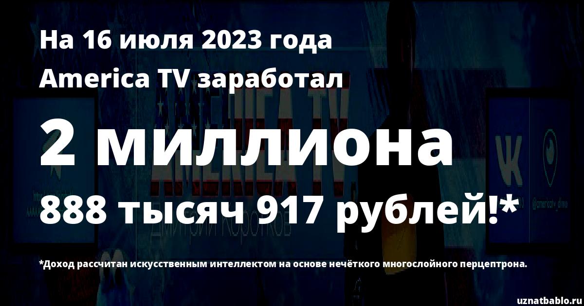 Сколько заработал America TV на Youtube на 10 апреля 2020 года