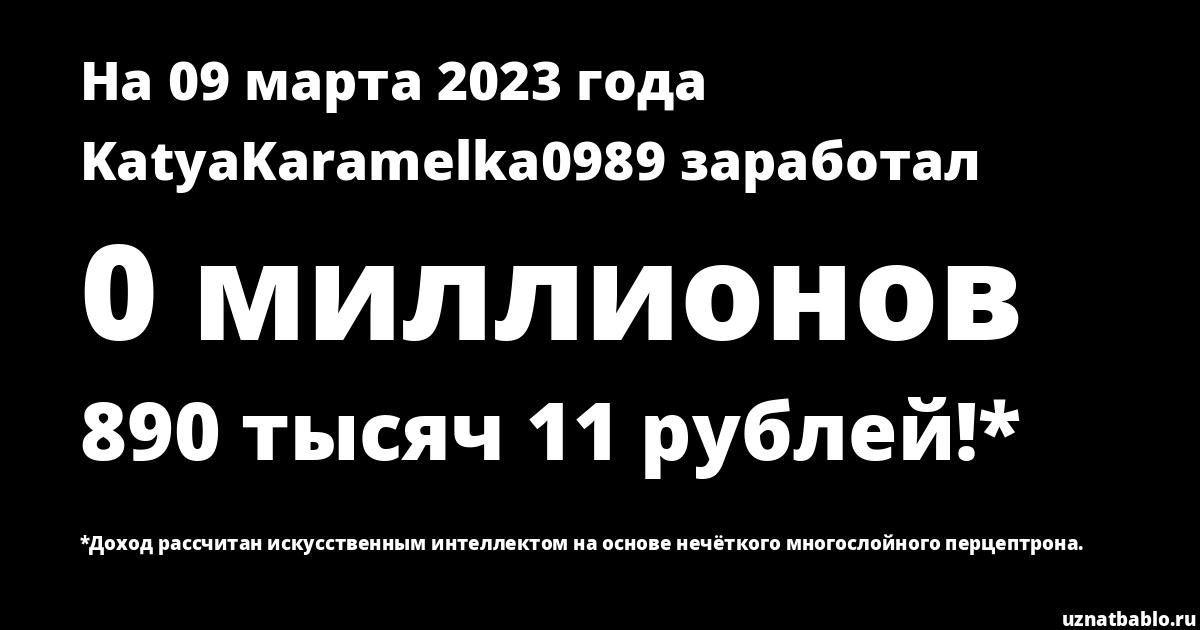 Сколько заработал KatyaKaramelka0989 на Youtube на 19 февраля 2019 года