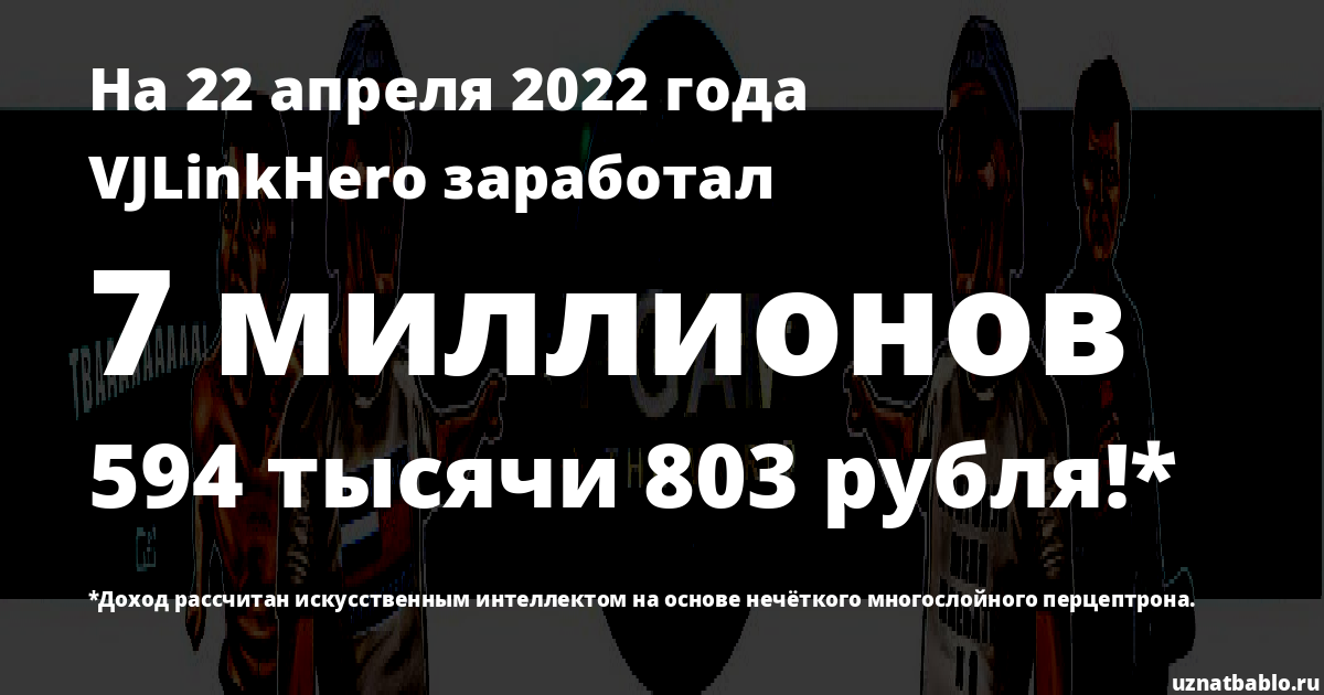 Сколько заработал VJLinkHero на Youtube на 28 марта 2020 года
