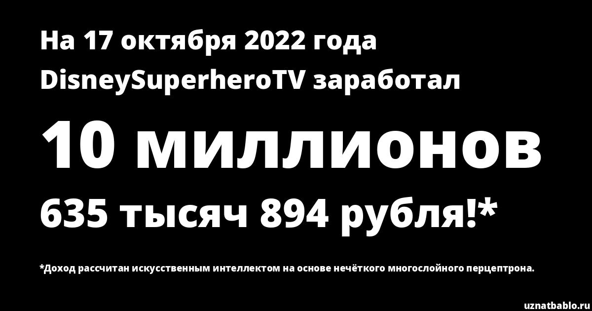 Сколько заработал DisneySuperheroTV на Youtube на 25 августа 2019 года