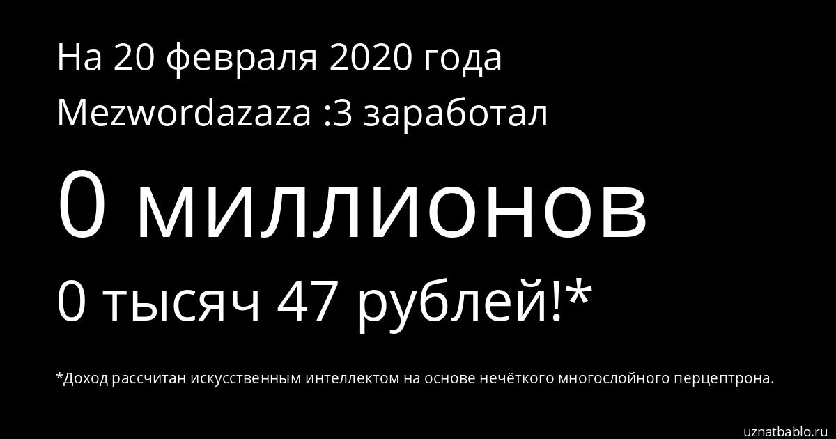 Сколько заработал Mezwordazaza :3 на Youtube на 25 января 2020 года