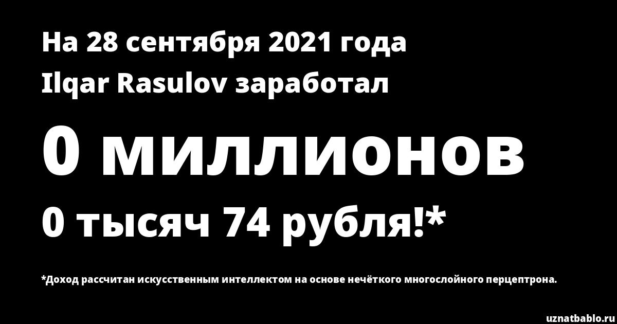 Сколько заработал Ilqar Rasulov на Youtube на 16 июля 2019 года