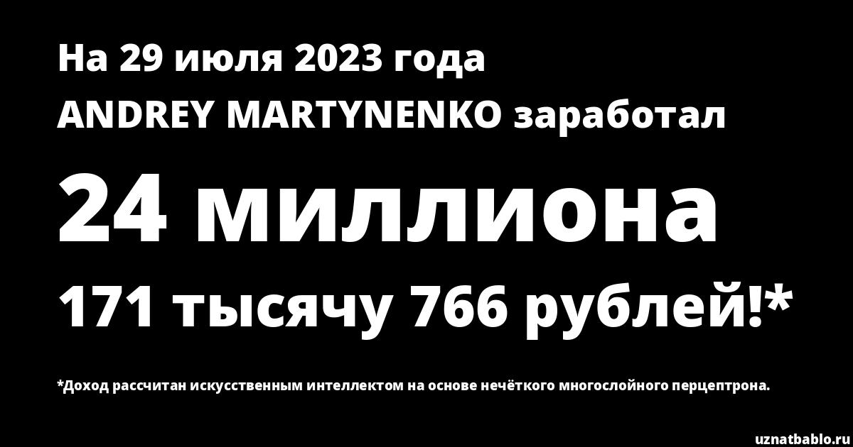Сколько заработал ANDREY MARTYNENKO на Youtube на 25 августа 2019 года