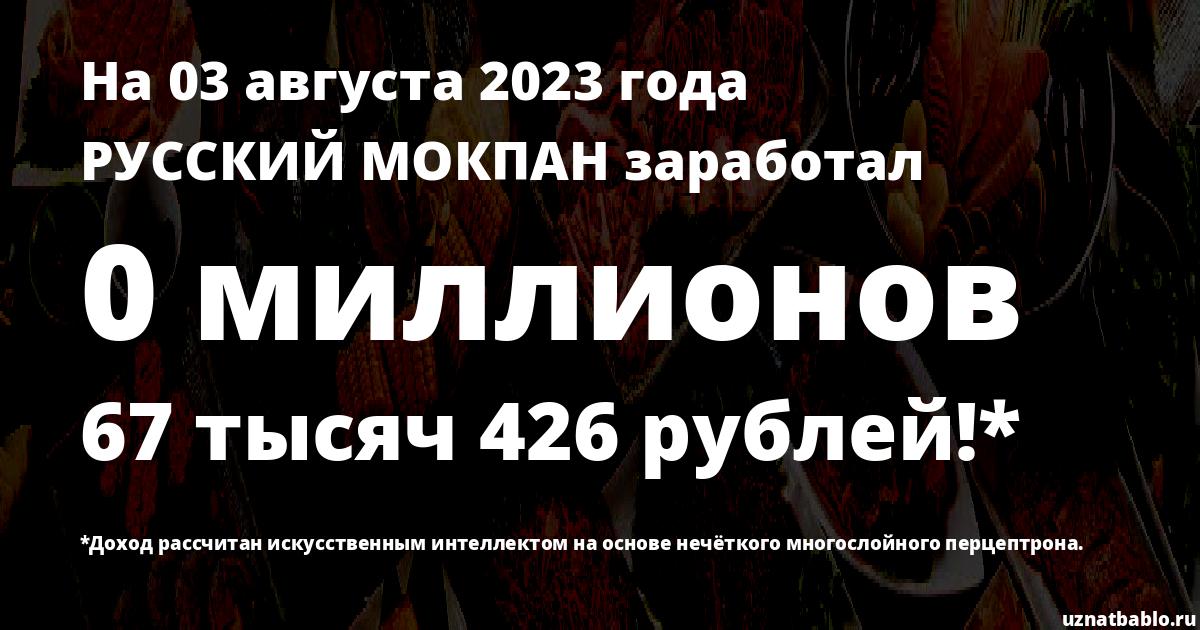 Сколько заработал РУССКИЙ МОКПАН на Youtube на 22 января 2020 года