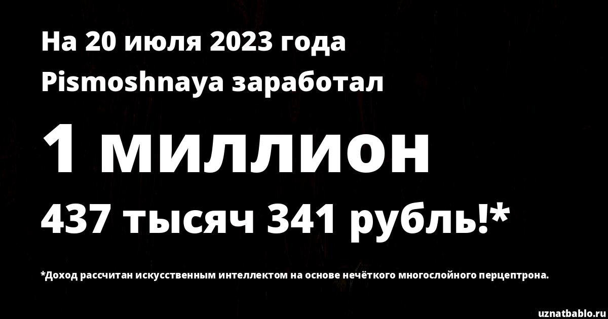Сколько заработал Pismoshnaya на Youtube на 15 декабря 2019 года
