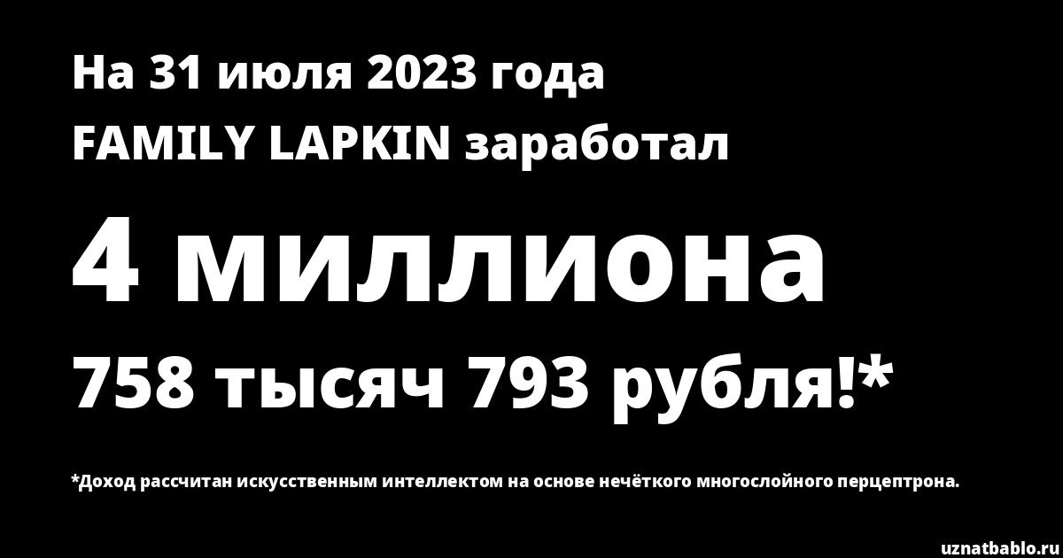 Сколько заработал Family Lapkin на Youtube на 24 марта 2019 года