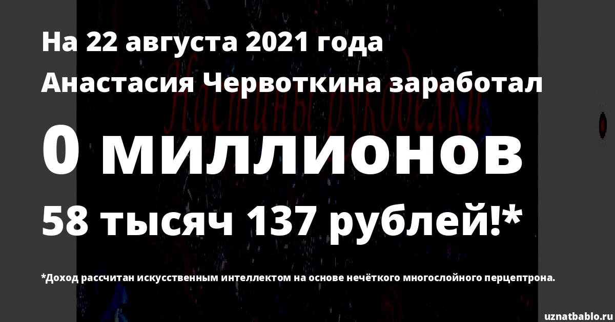 Сколько заработал Анастасия Червоткина на Youtube на 24 марта 2019 года