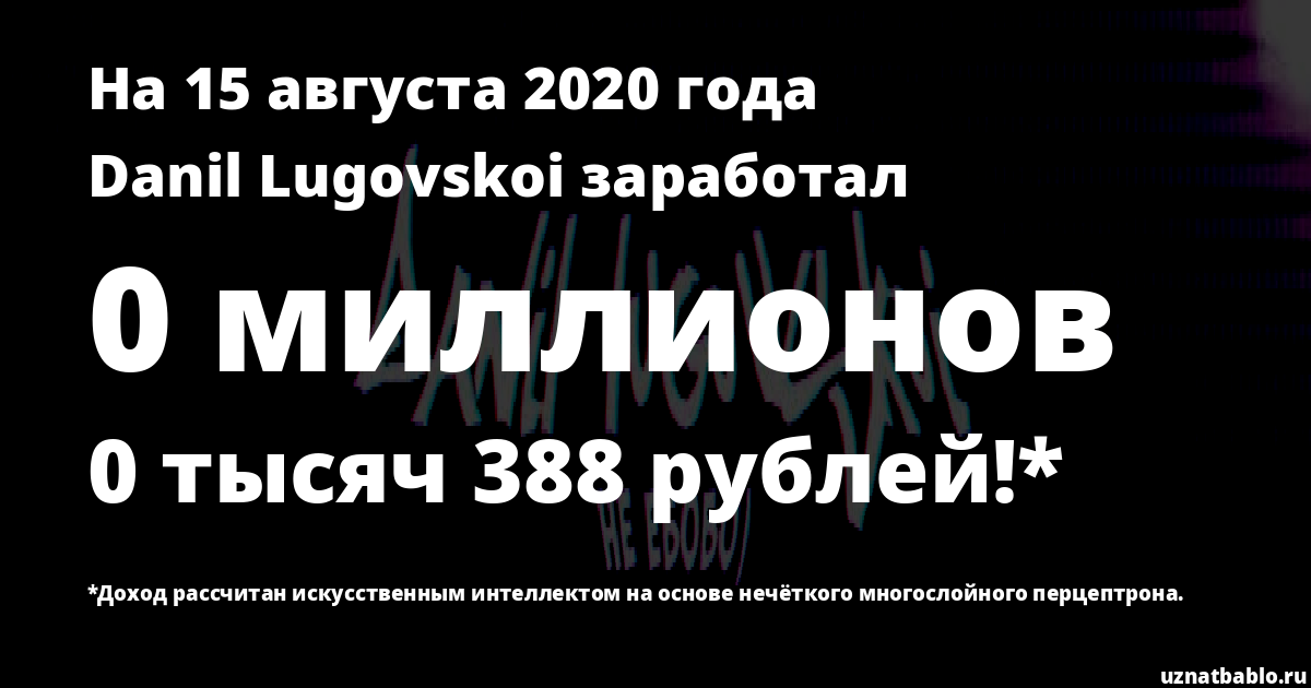 Сколько заработал Danil Lugovskoi на Youtube на 16 июля 2019 года