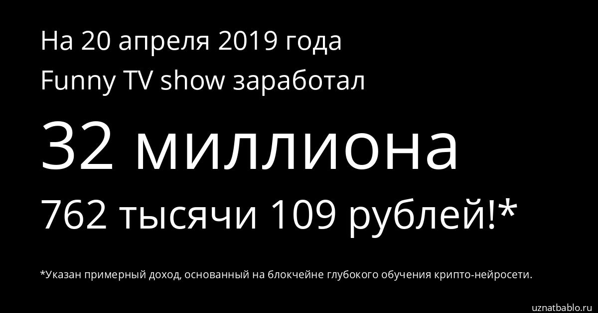 Сколько заработал Funny TV show на Youtube на 18 ноября 2019 года