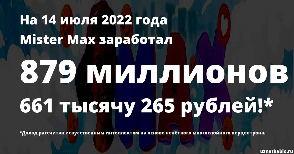 Сколько заработал Mister Max на Youtube на 7 апреля 2020 года