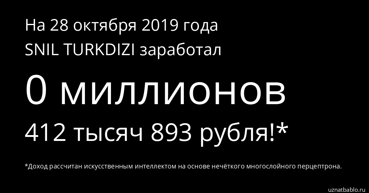 Сколько заработал SNIL TURKDIZI на Youtube на 22 января 2020 года
