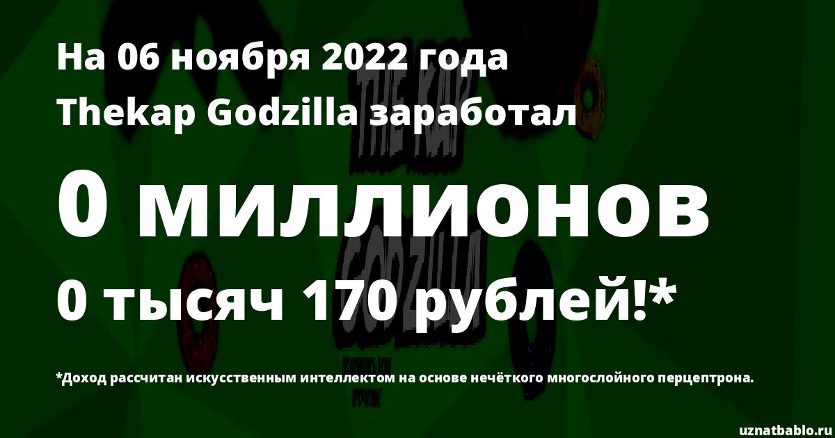 Сколько заработал Thekap Godzilla на Youtube на 10 апреля 2020 года