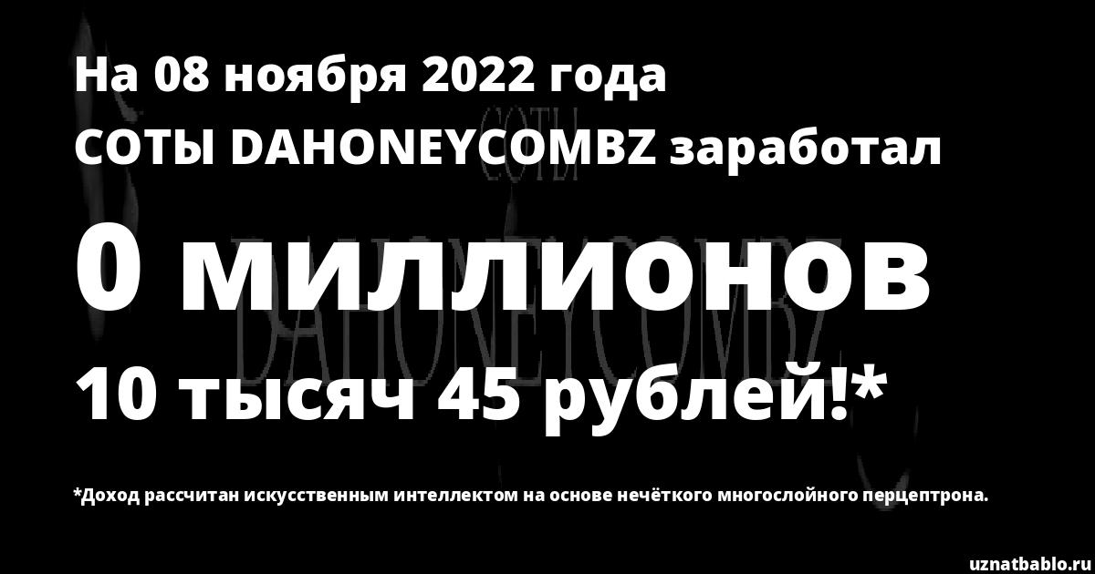 Сколько заработал СОТЫ DAHONEYCOMBZ на Youtube на 19 ноября 2019 года