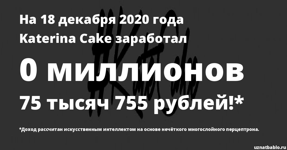 Сколько заработал Katerina Cake на Youtube на 17 июля 2019 года