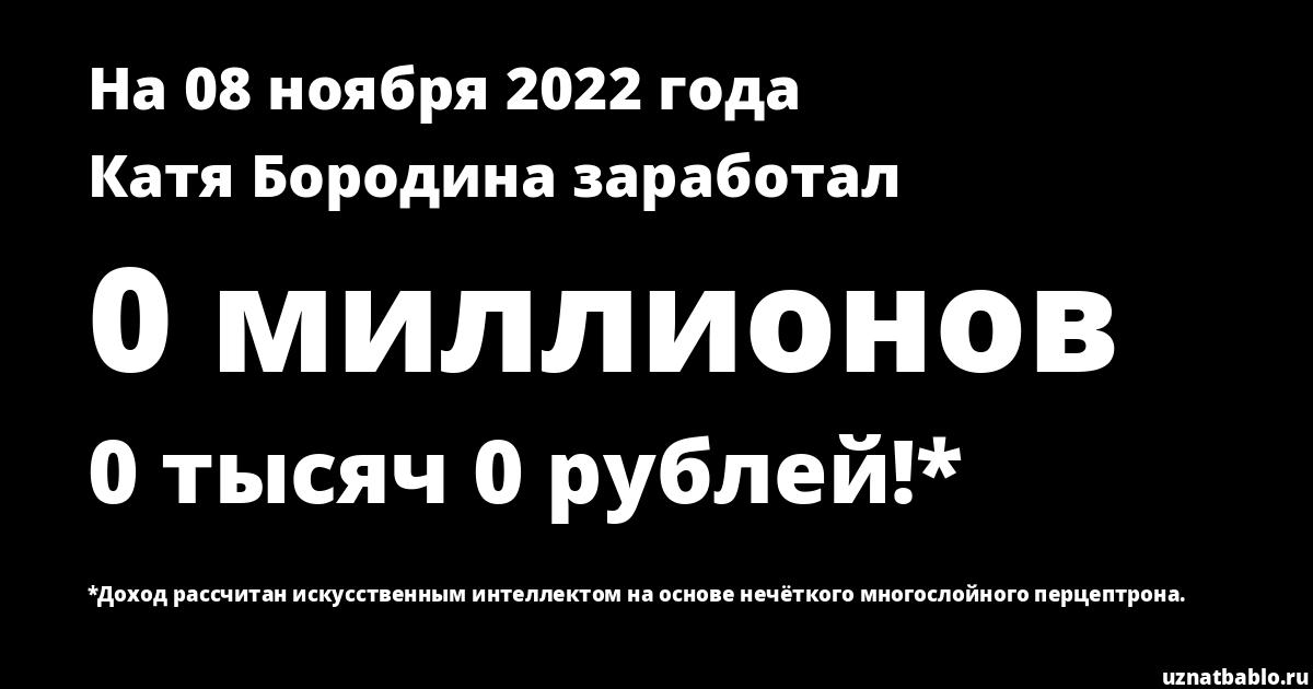 Сколько заработал Катя Бородина на Youtube на 27 января 2020 года