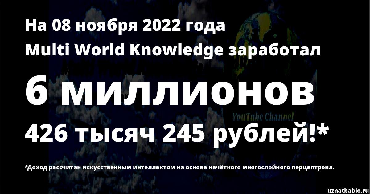 Сколько заработал Multi World Knowledge на Youtube на 19 мая 2019 года