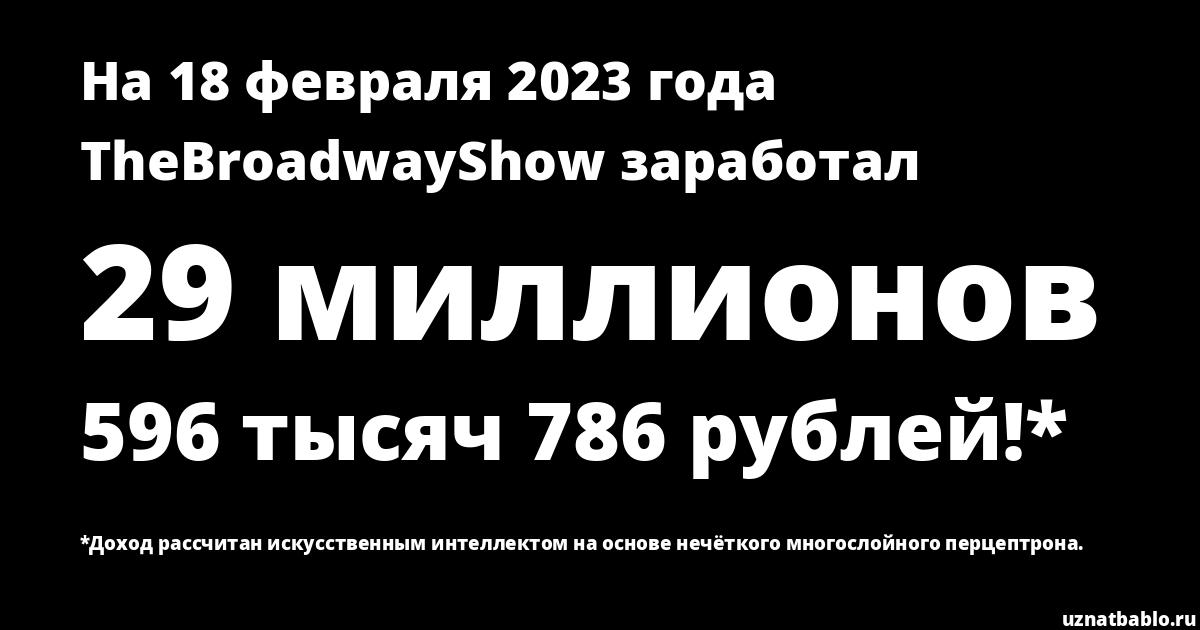 Сколько заработал TheBroadwayShow на Youtube на 20 августа 2019 года