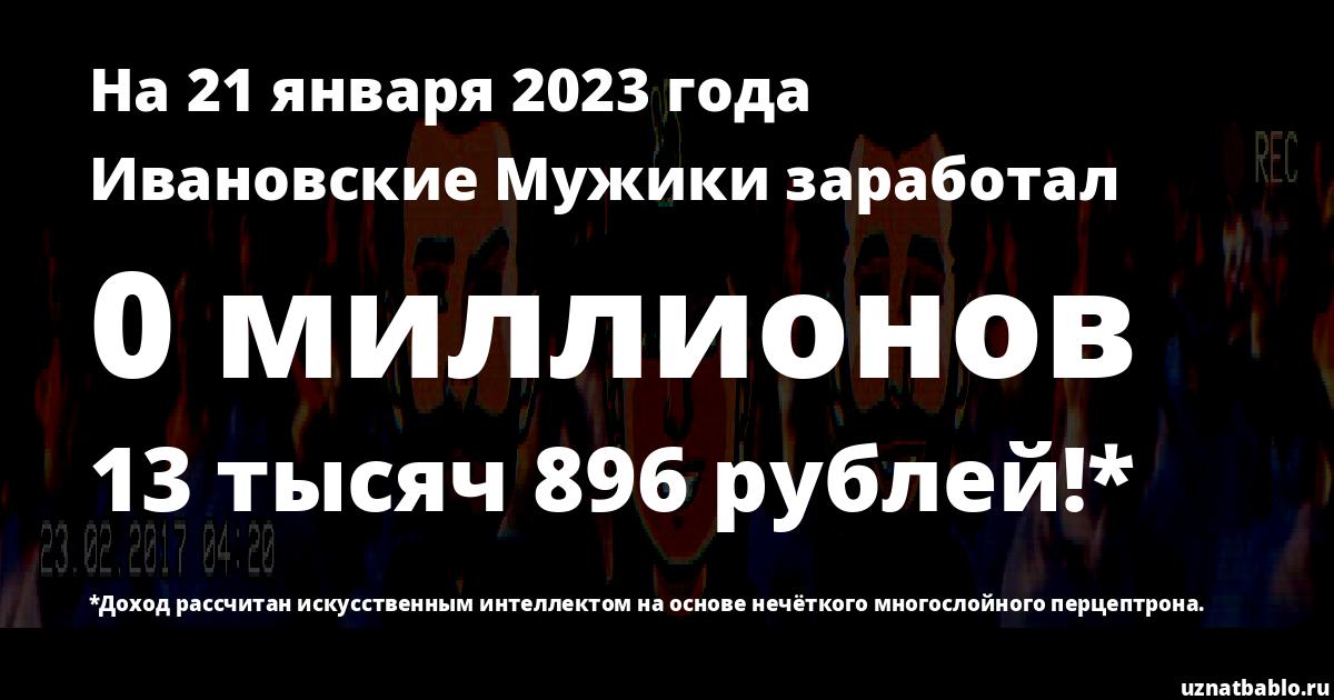 Сколько заработал Ивановские Мужики на Youtube на 22 сентября 2019 года